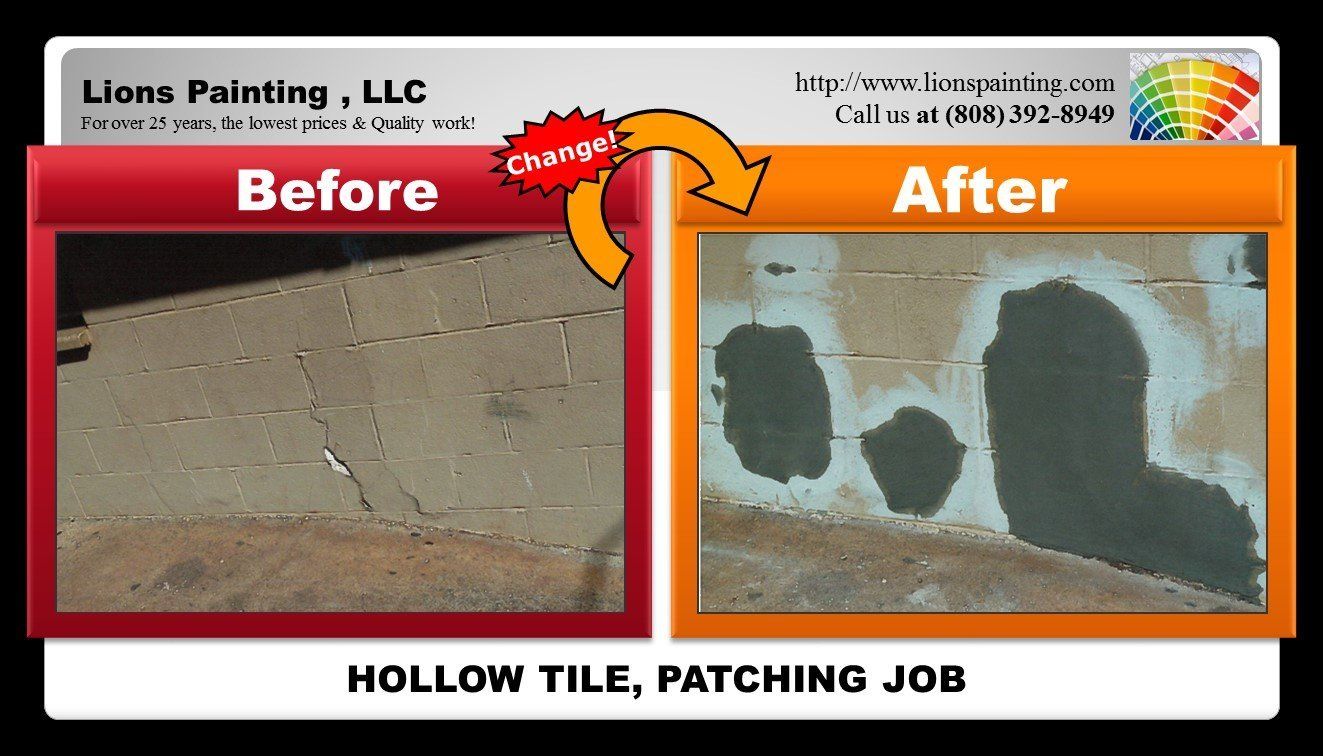 Before and after of patching job at Hollow Tile