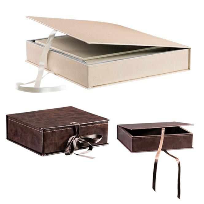Olimp Album Mini Chest. Leatherette chest available for 15x20, 20x20, 23x23 albums, in white, black and brown, for 30x30 and 30x40 albums in white and beige