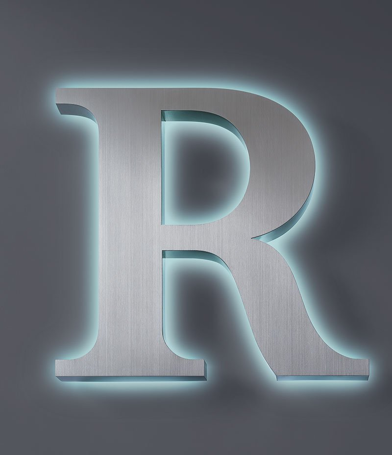 Stainless Steel Halo Lit LED Letter R
