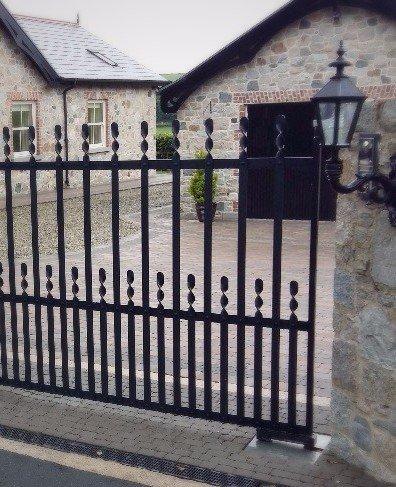 Decorative iron electric driveway gates