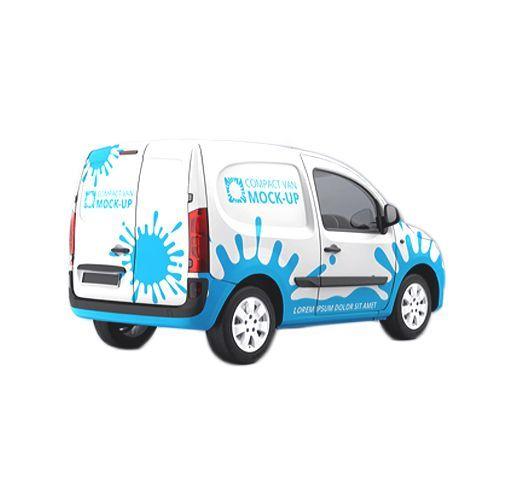 un furgone bianco con disegni azzurri di schizzi d'acqua e la scritta COMPACT VAN MOCK UP