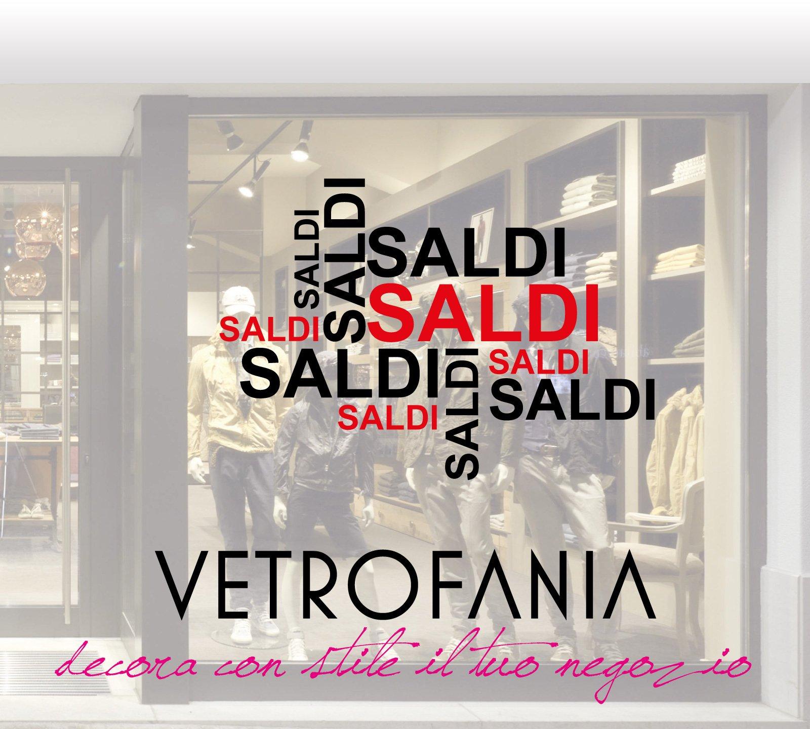 immagine con scritto Saldi Vetrofania, decora con stile il tuo negozio e sullo sfondo delle persone che fanno compere in un negozio di vestiti