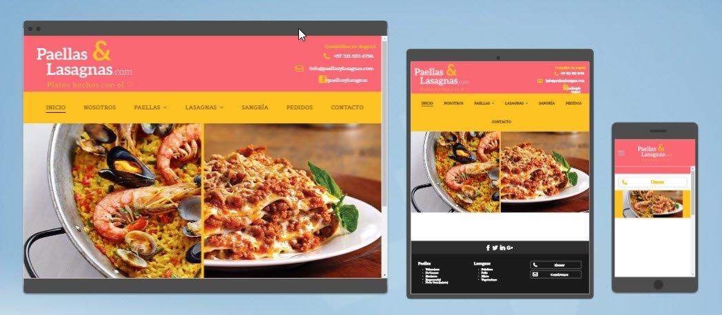 diseño sitios web paellas y lasagnas