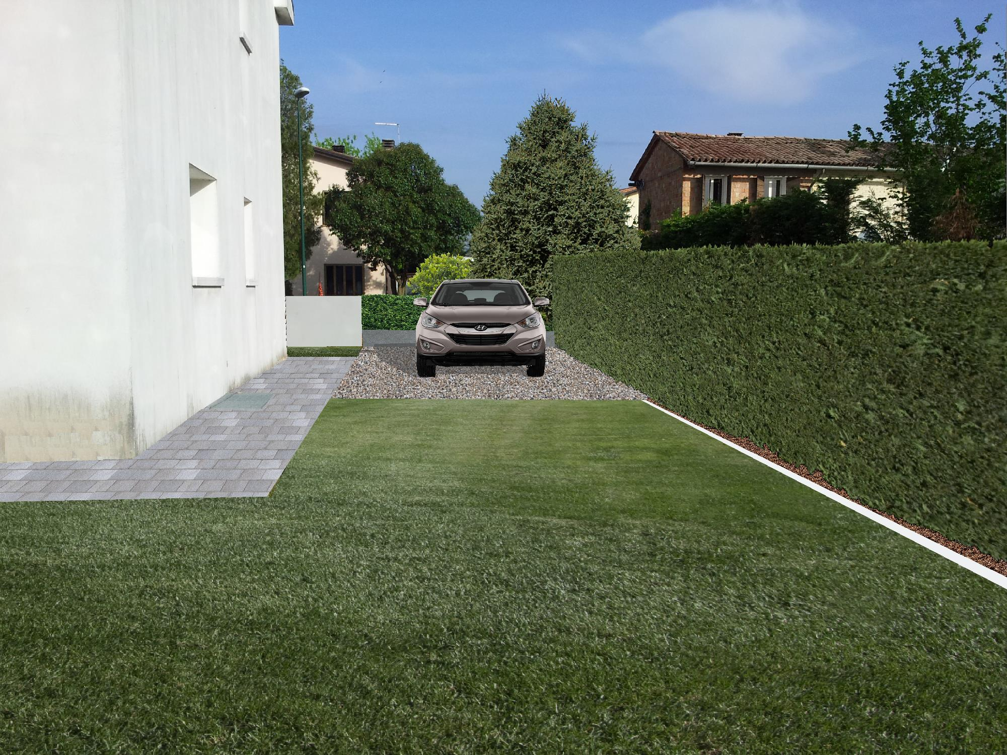giardino in 3D con macchina