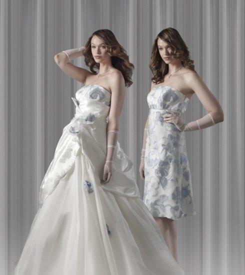 Mod. D020 abito da sposa Dual Dress Magnani con gonna ampia in organza di pura seta abbinata ad un tessuto in raso damascato.