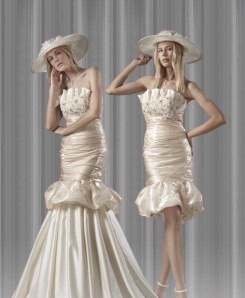 Mod. D014 abito da sposa Dual Dress Magnani in organza e pizzo particolare.