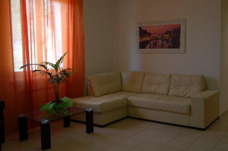 vista di corridoio e una stanza con divano, vaso su tavolo e tenda trasparente