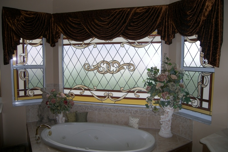Example of stained glass in bathroom in Elsmere, KY