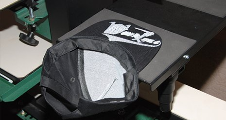 Screen printing of hat with visor