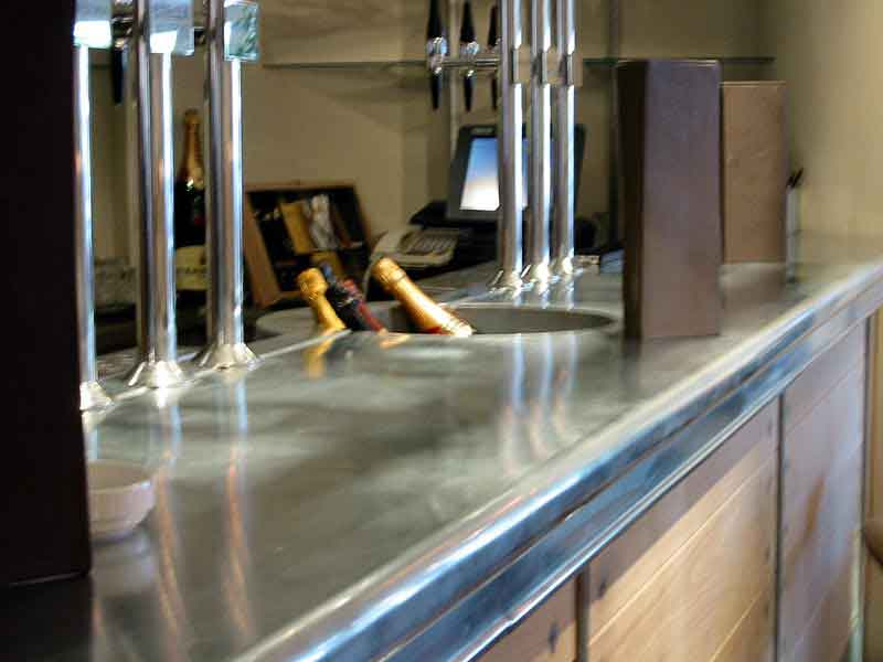 Zinc Curved Double Bull Nose Bar With Integral Champagne Cooler Sinks