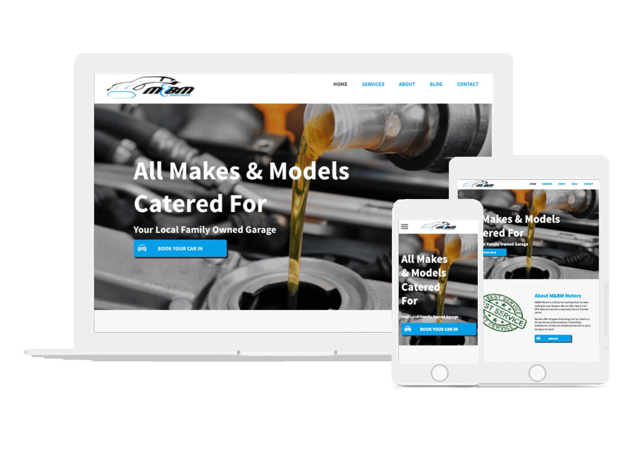 website design for garage services garages