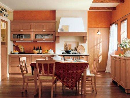una cucina a blocco, un mobile da buffet e un tavolo in legno