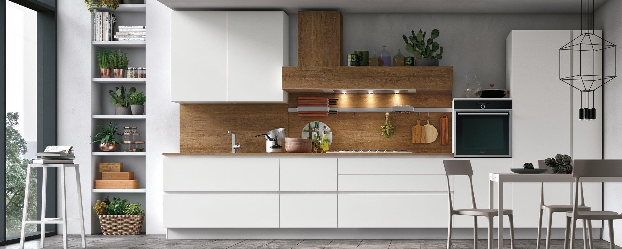 cucina con arredamento quercia