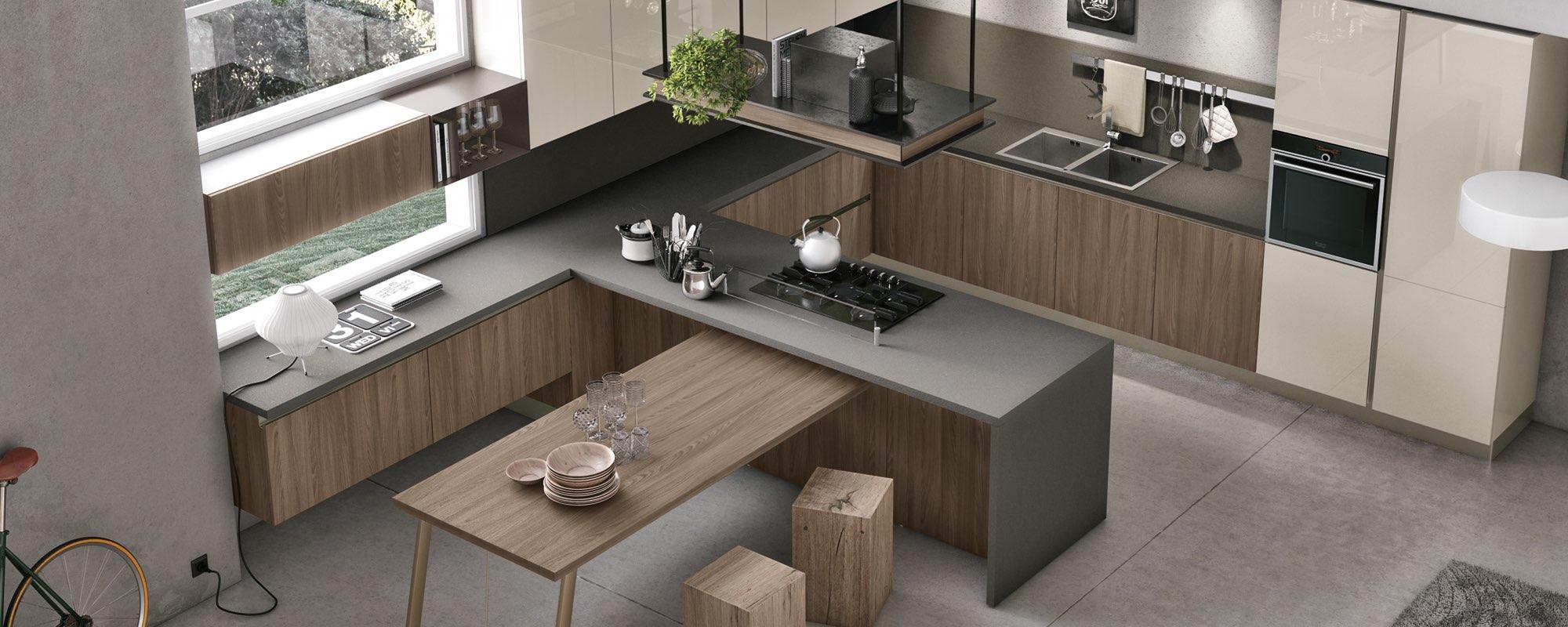 vista dall`alto di una cucina