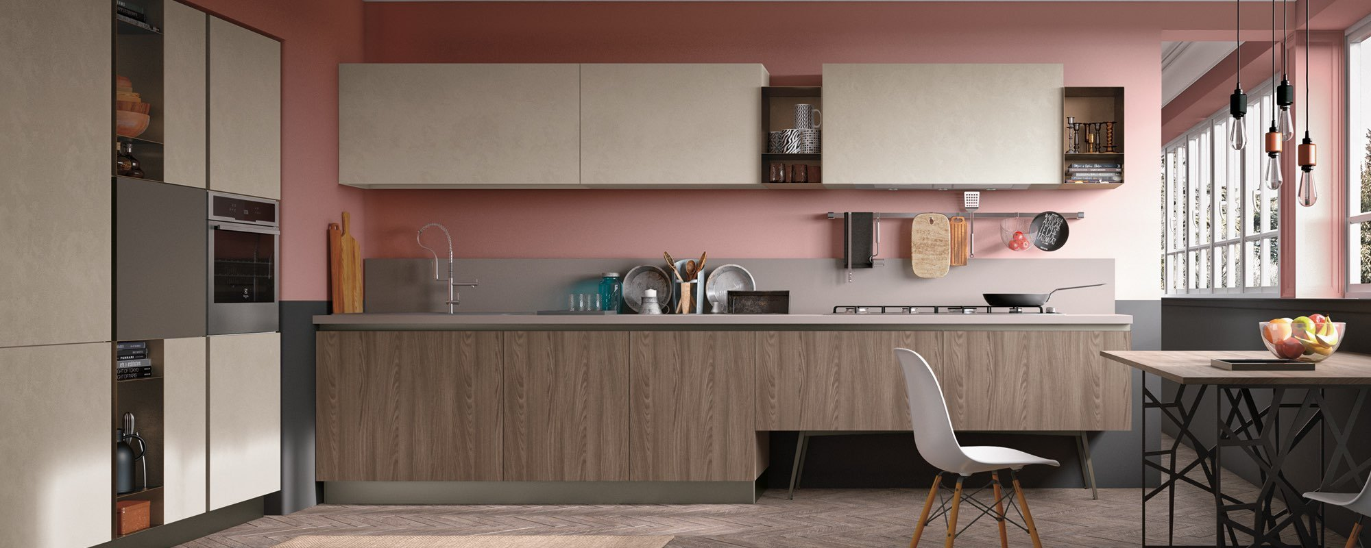 cucina arredamento color rovere deserto