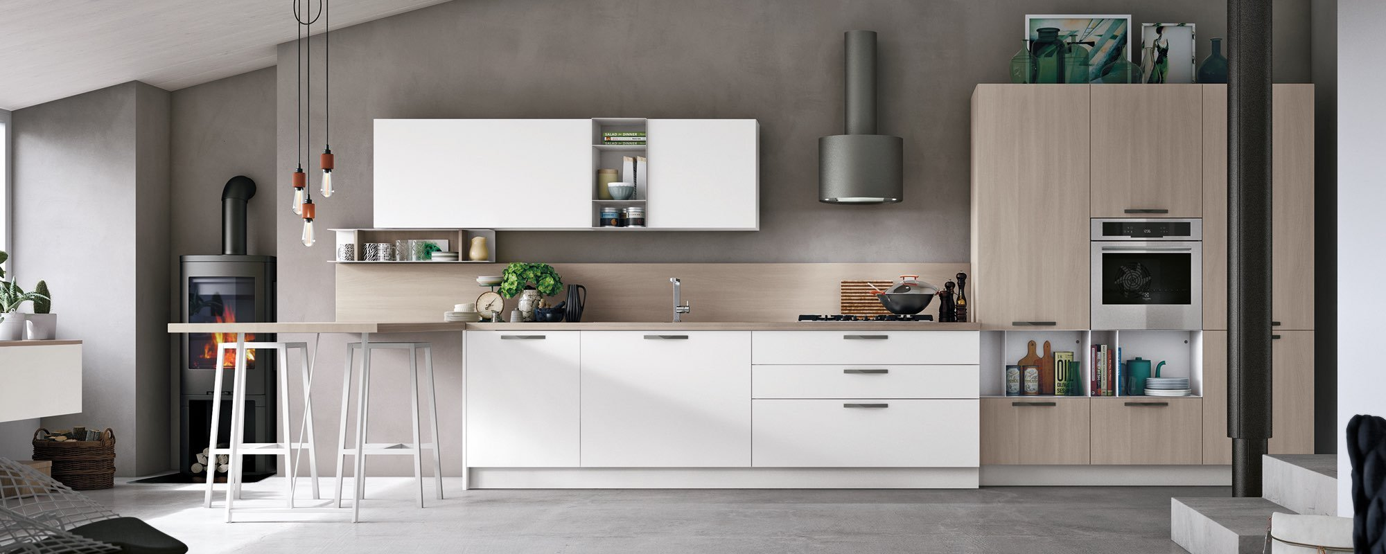 cucina con arredamento bianco