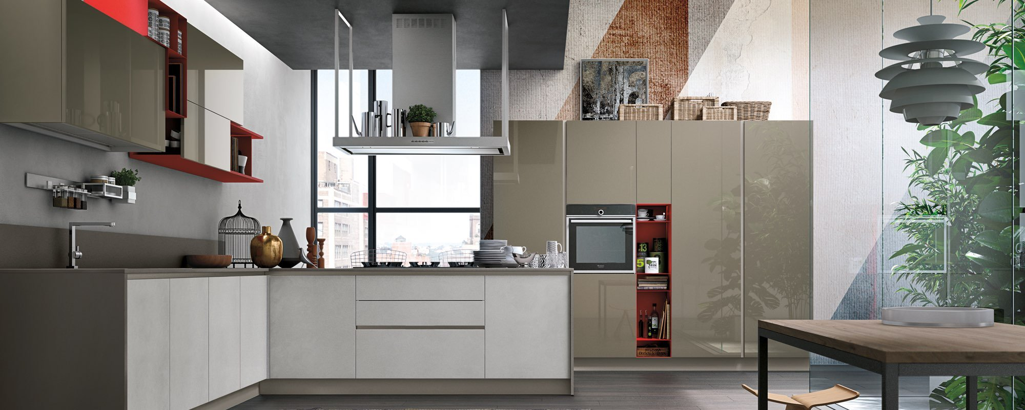 cucina con arredamento color bianco opaco