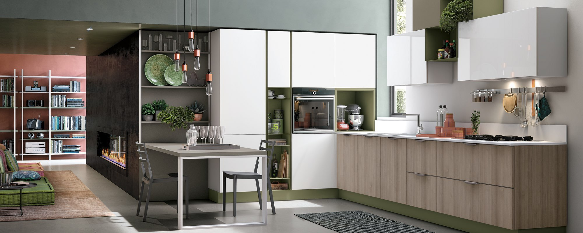 cucina con arredamento laccato opaco verde oliva