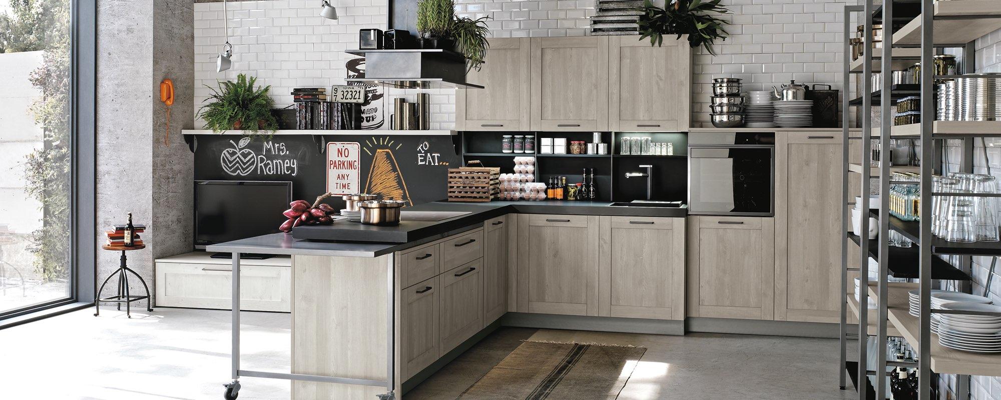 vista frontale di una cucina moderna in quercia -CITY