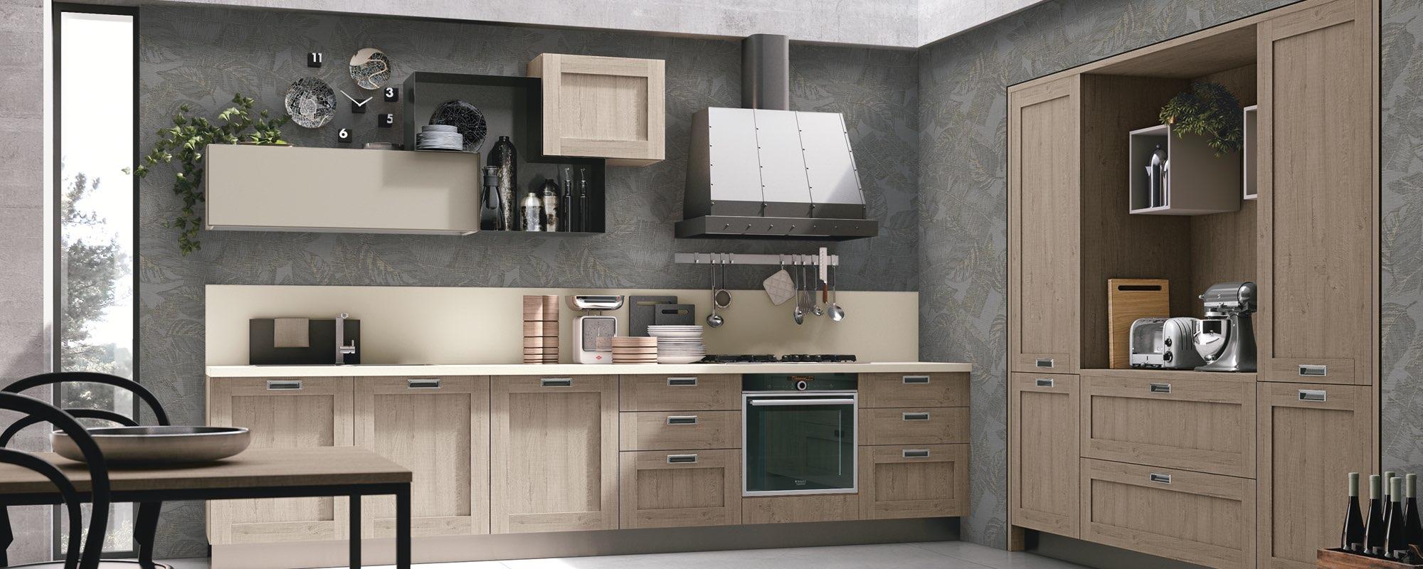 vista frontale di una cucina moderna in legno opaca con tavolo e sedie -CITY