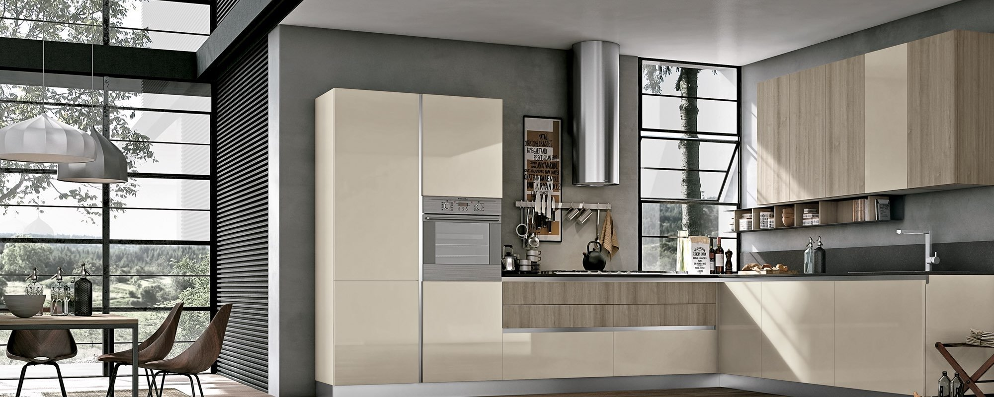 Cucina ad angolo con finestre in vetro tavolo e sedie maya for Case moderne sotto 2000 piedi quadrati
