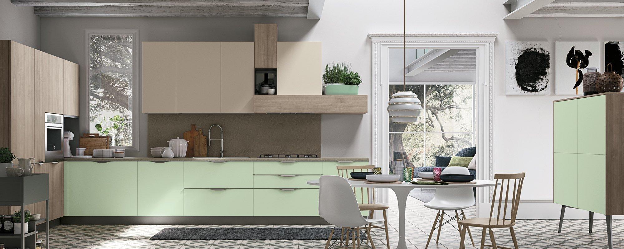 soggiorno moderna con la cucina verde moderna  -Maya