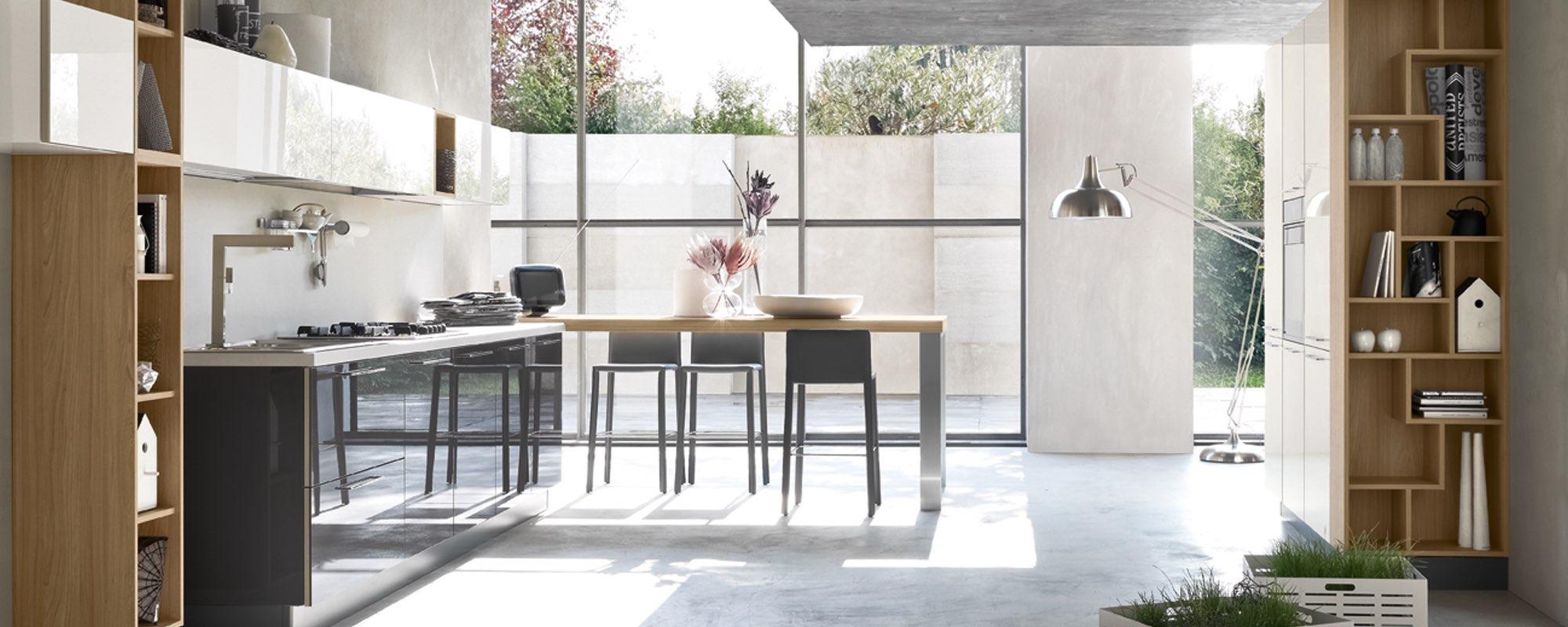 cucina dal design moderno con arredamento funzionale ed equilibrato - Cucina Moderna Aleve
