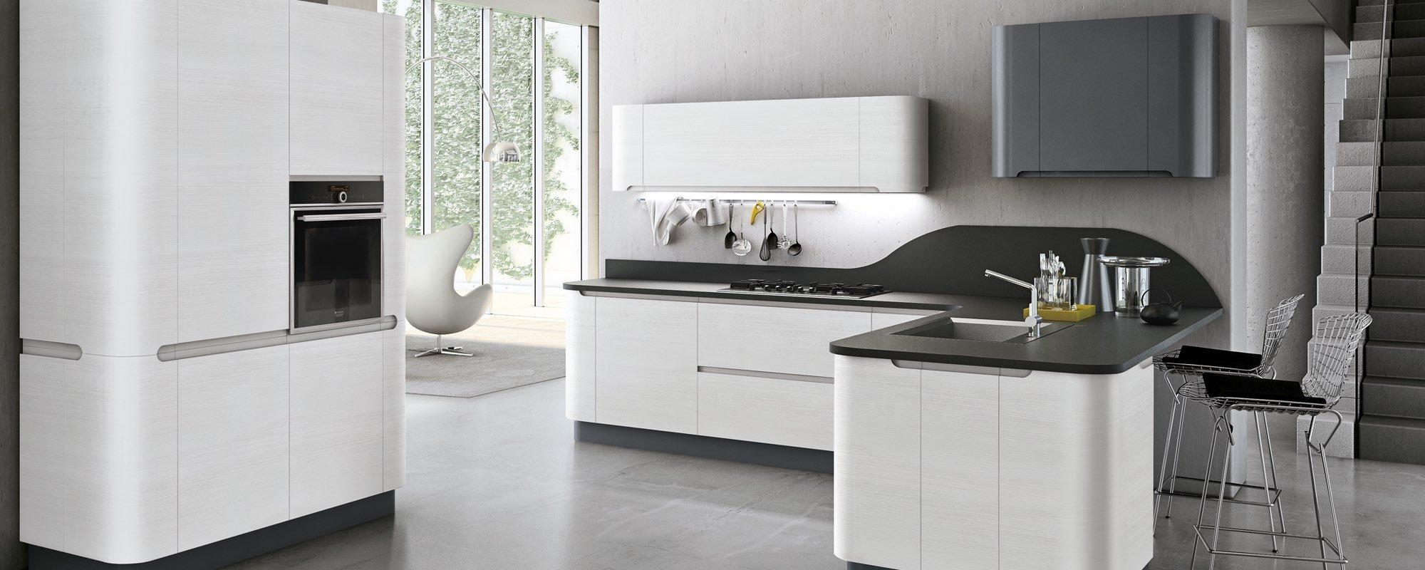 vista frontale di una cucina moderna in legno ad angolo - Bring