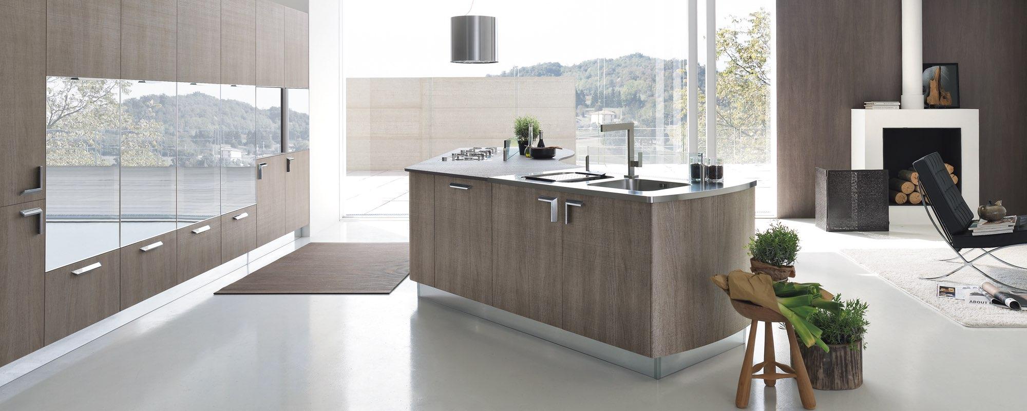 cucina moderna componibili con elementi curvi e dinamici - MILLY
