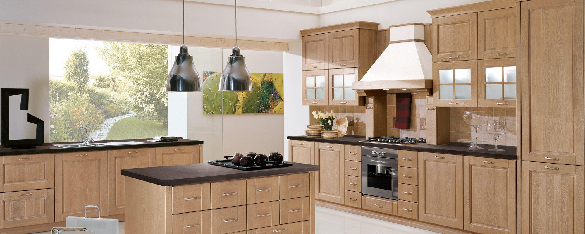 vista frontale di una cucina stosa contemporanea con tavolo in legno e sedie - ONTARIO