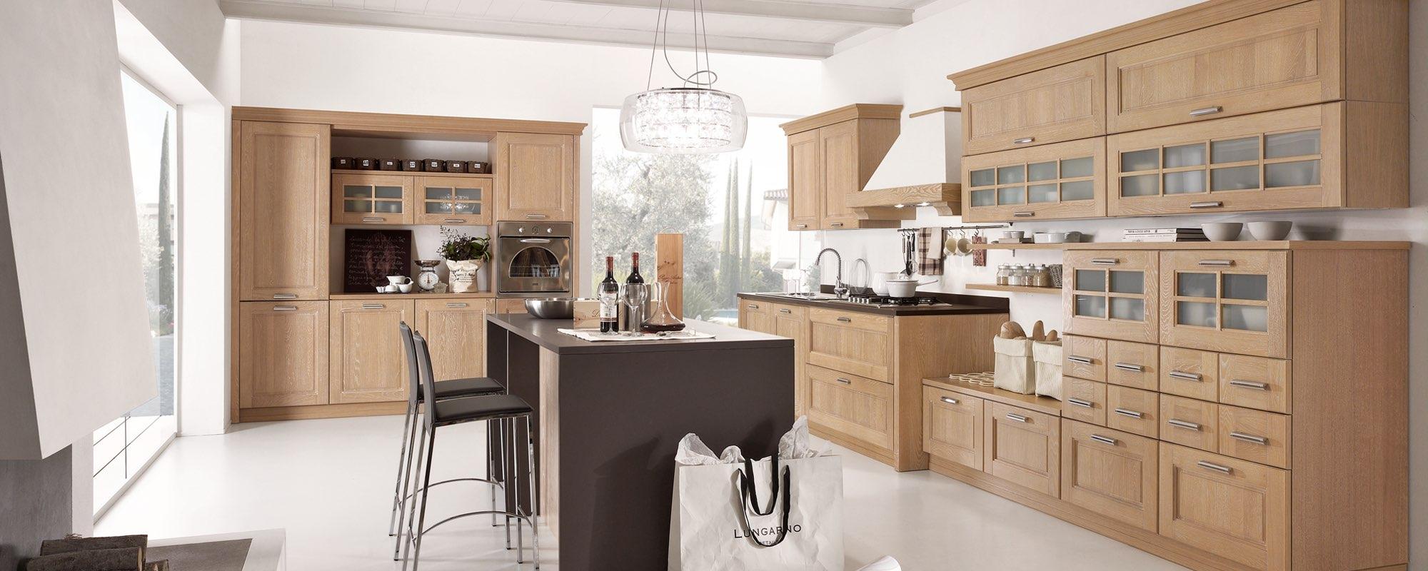 cucina stosa contemporanea con tavolo in legno e sedie - modello cucina ONTARIO