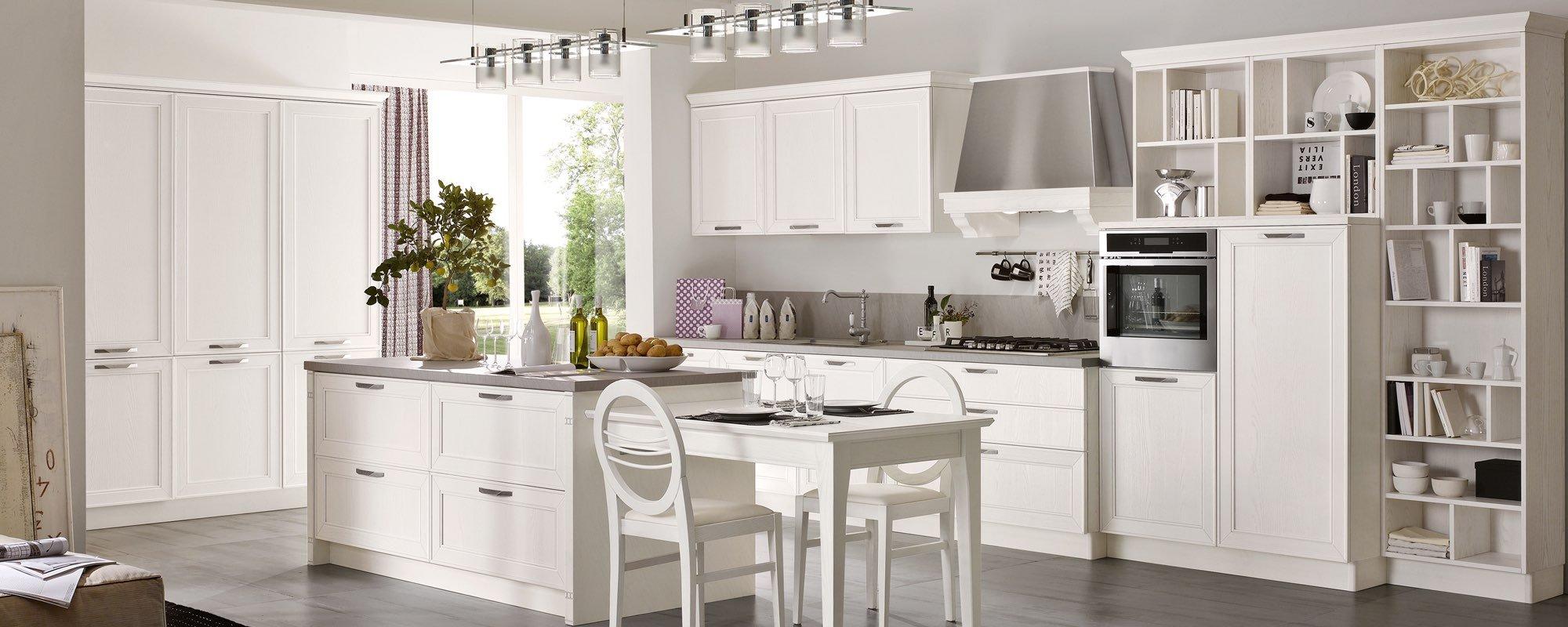 vista angolare di una cucina moderna in legno compatta  e arredamento- MAXIM