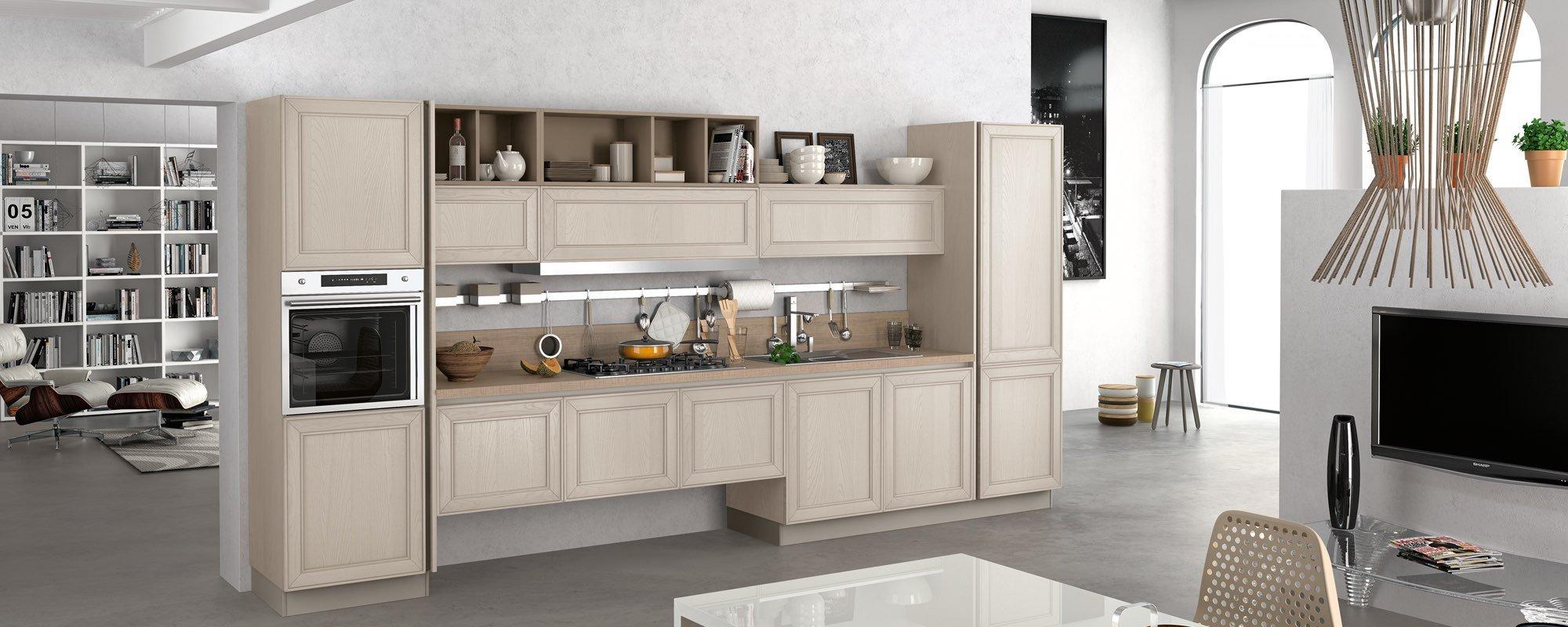 vista laterale di una cucina moderna in legno bianco - MAXIM