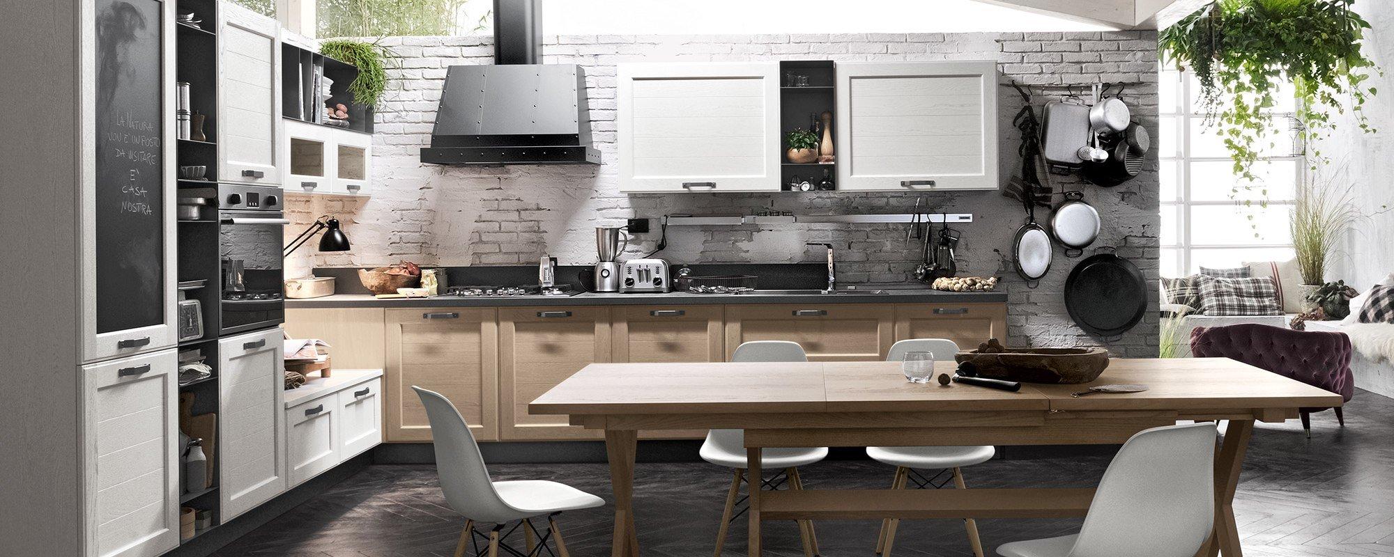 vista di una cucina moderna contemporanea stosa con tavolo e sedie - YORK