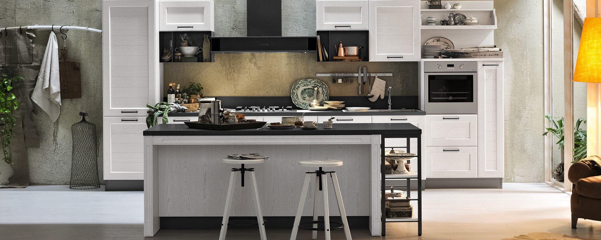 vista frontale di una cucina moderna in quercia con isola - YORK