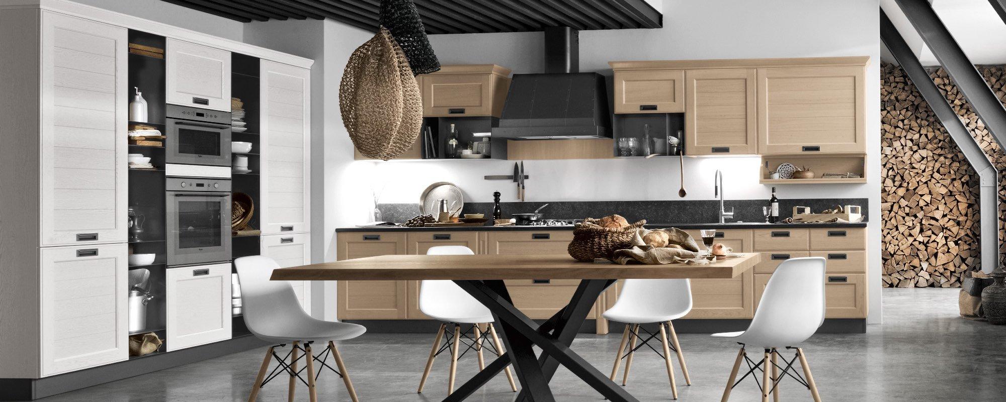 cucina moderna in quercia con tavolo e sedie -YORK