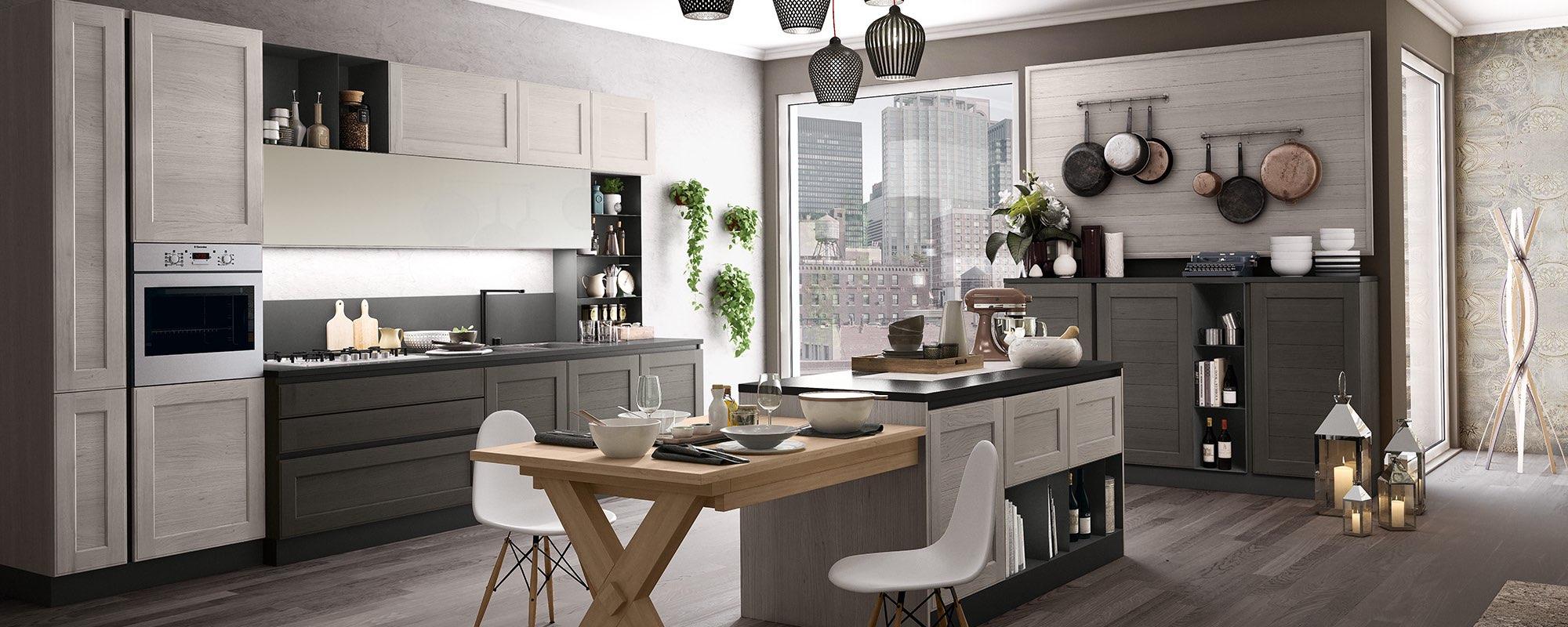 spazio disegno di una cucina contemporanea stosa con tavolo e sedie- YORK