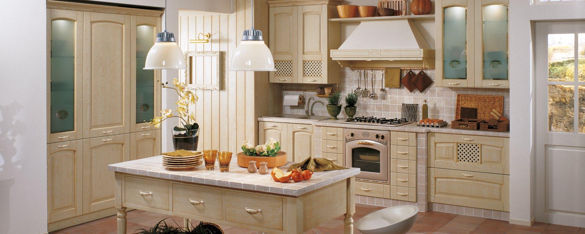 cucina stosa classica in legno giallo-GINVERA