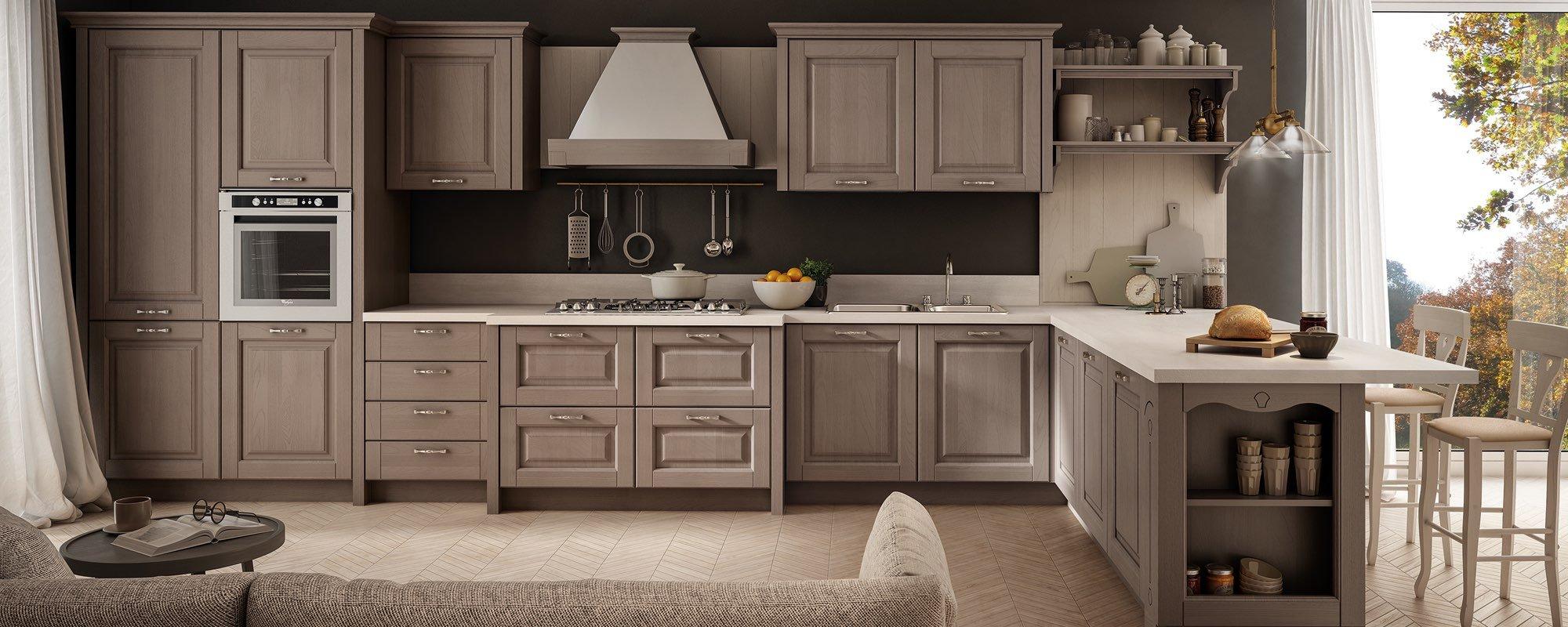 Cucina Bolgheri Stosa ad angolo con divano, sedie e arredamento -BOLGHERI