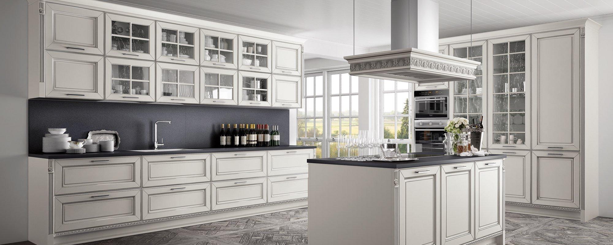 vista laterale di una cucina bianca classica arredo -Dolcevita