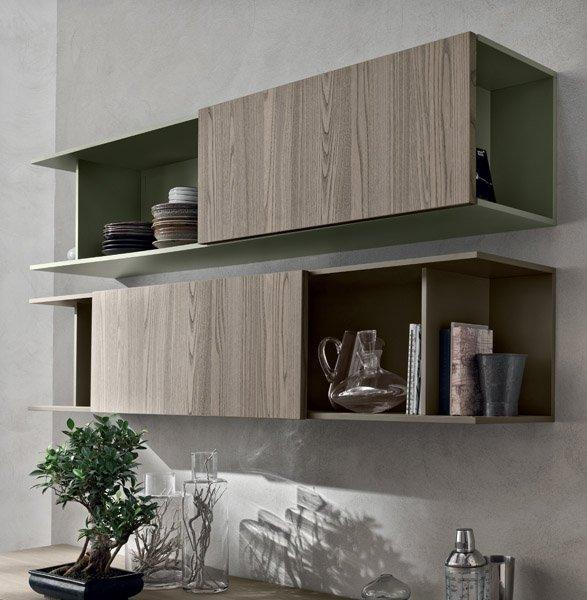 vista laterale di credenza in legno in una cucina moderna-MOOD
