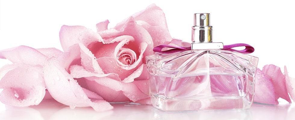 profumo con immagine di una rosa