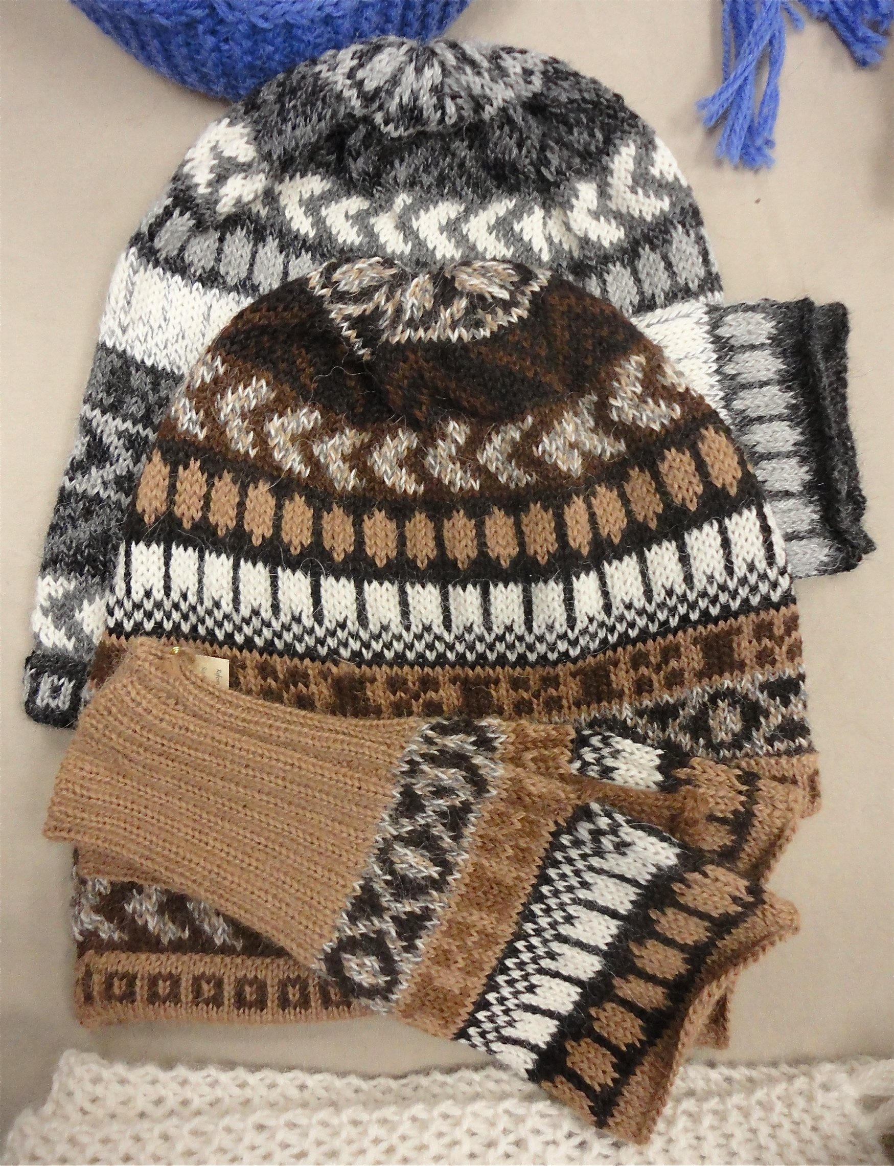 multi colored alpaca hats and gloves