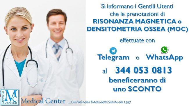 Sconto risonanza magnetica e densitometria ossea con prenotazione via telegram o whatsapp