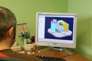 il monitor di un computer con un disegno tecnico