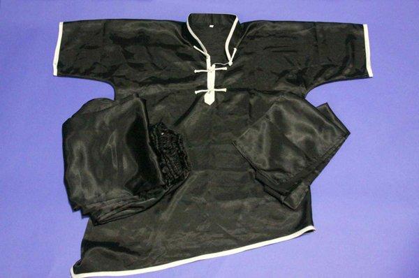 Divisa kung fu / wushu in raso manica corta colore nero