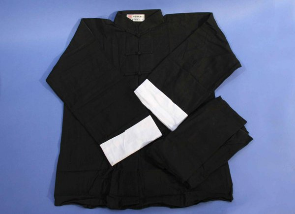 Uniforme Bruce Lee nera maniche lunghe in cotone.