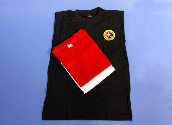 T shirt smanicata con logo sanda, in cotone.