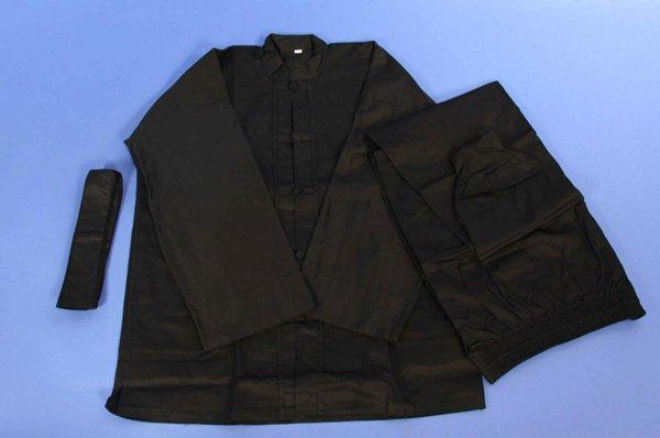 Uniforme kung fu nera manica lunghe in cotone pesante.