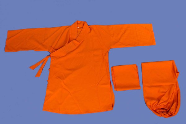 Uniforme monaco shaolin color arancio.